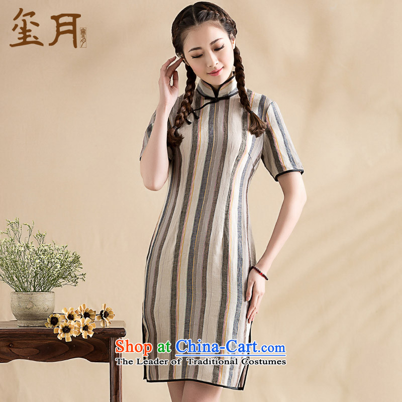 The seal on the original 2015 arts pure elegant qipao in cuff striped disk detained improved daily cheongsam dress photo color L