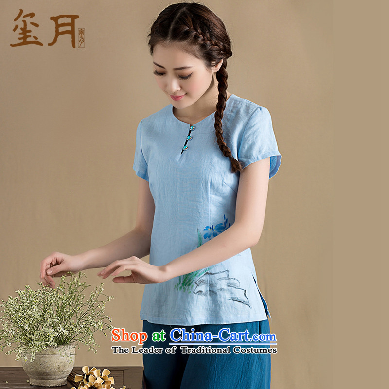 The seal on the spring and summer of 2015, the original Chinese cotton linen hand-painted short-sleeved T-shirt of ethnic Chinese literary linen T-shirt hand-painted燲L
