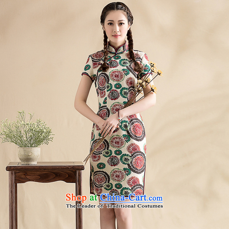 The seal on the new spring and summer 2015 cotton linen daily floral arts cheongsam dress light of Chinese traditional ethnic women picture color M