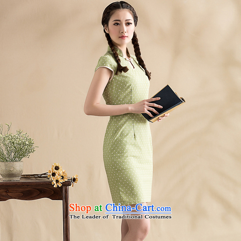 The seal on 2015 Original wave point cotton linen arts cheongsam elegance with Chinese cheongsam dress improved picture color燲L