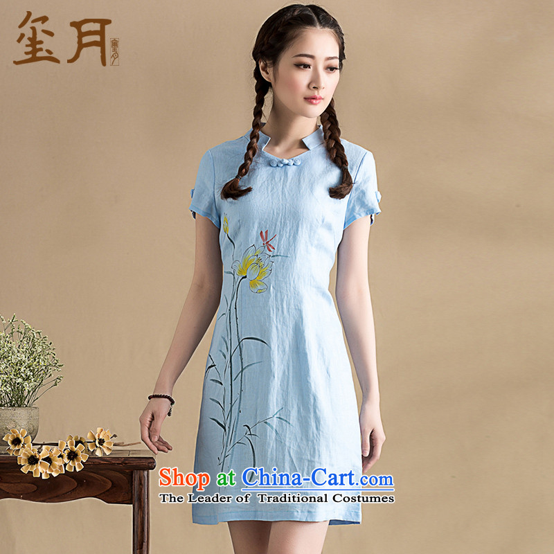 The seal on the original 2015 traditional hand-painted improved qipao retro arts minimalist temperament Ms. cheongsam dress photo color燲L