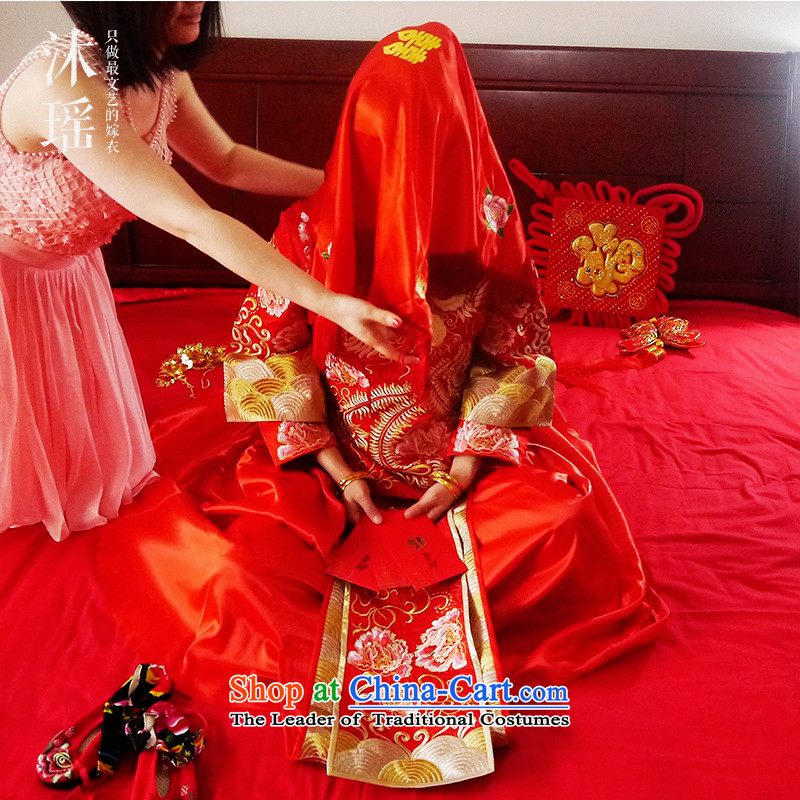 Bathing in the  same 2015 angelbaby Yao New Chinese style wedding brides of autumn and winter large high-end-use dragon serving Wo Long wedding ceremony RED M chest 88CM