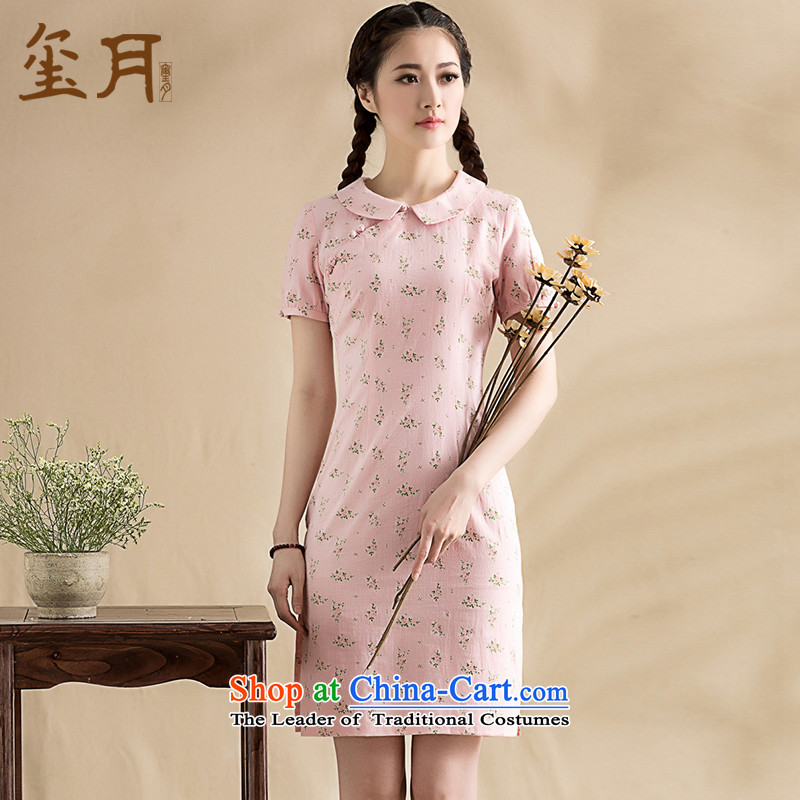 The seal on the original 2015 saika dolls for literary and artistic qipao short-sleeved improved short of Qipao-chinese dresses chopper pollen S