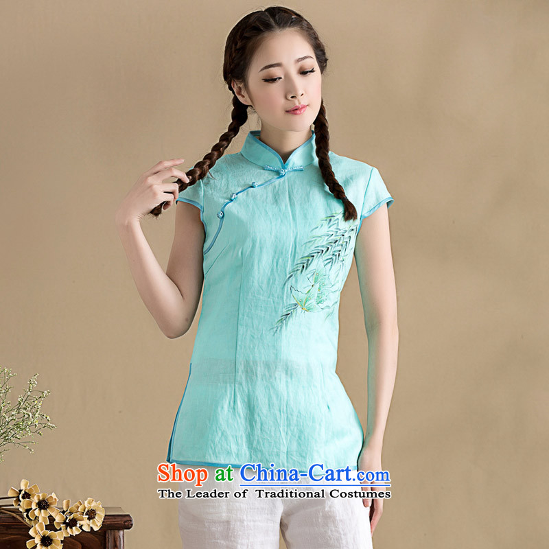 The seal on the original cotton linen minimalist art Linen Dress Shirt qipao hand-painted Han-chinese short-sleeved compassionate female light blue�L