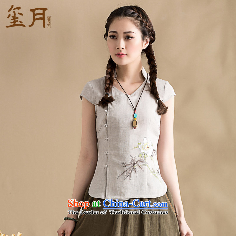 The spring and summer of 2015 on seal original cotton linen clothes female China wind cheongsam collar short-sleeved Chinese hand-painted blouses hand-painted gray燬