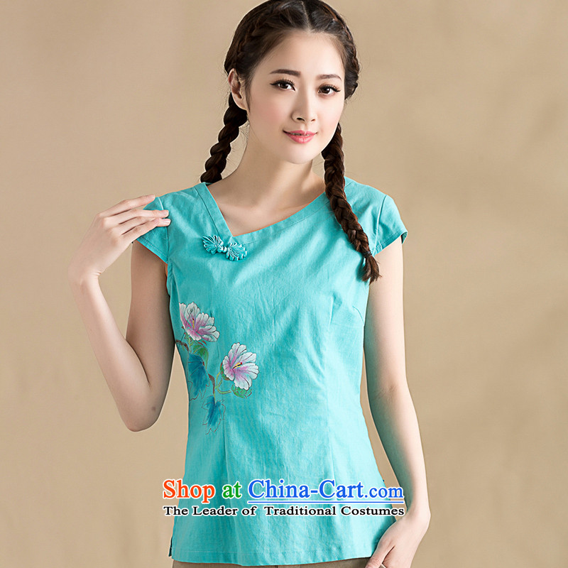 The seal on the original 2015 spring of Chinese cotton linen clothes China wind hand-painted Mudan   improved blouses hand-painted a light blue�S