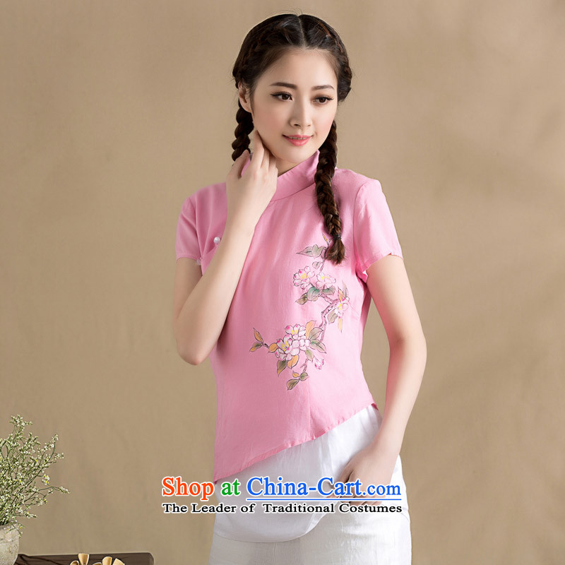 The seal on the original cotton linen blouses spring and summer arts stitching knocked short-sleeved T-shirt color Chinese hand painted Chinese Wind Pink , L, seal decreased by , , , shopping on the Internet