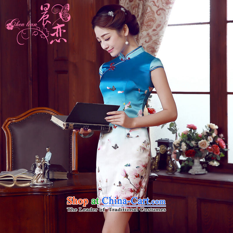 Morning new qipao Land summer short of improvement and Stylish retro herbs extract silk cheongsam dress blue butterfly Chinese light blue聽M