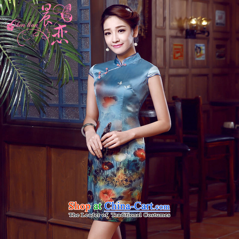Morning new qipao Land summer short of improvement and Stylish retro herbs extract silk cheongsam dress blue Jacob Chinese blue聽XL