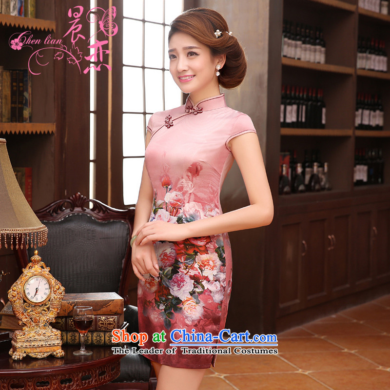 Morning new qipao land 2015 summer short of improvement and Stylish retro herbs extract silk CHINESE CHEONGSAM Pink Pink?L