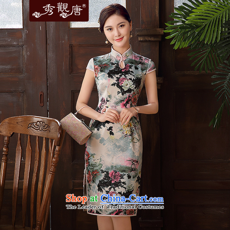 -Sau Kwun Tong- Color 2015 summer escape new improvements in the stylish retro long cheongsam dress suit XL
