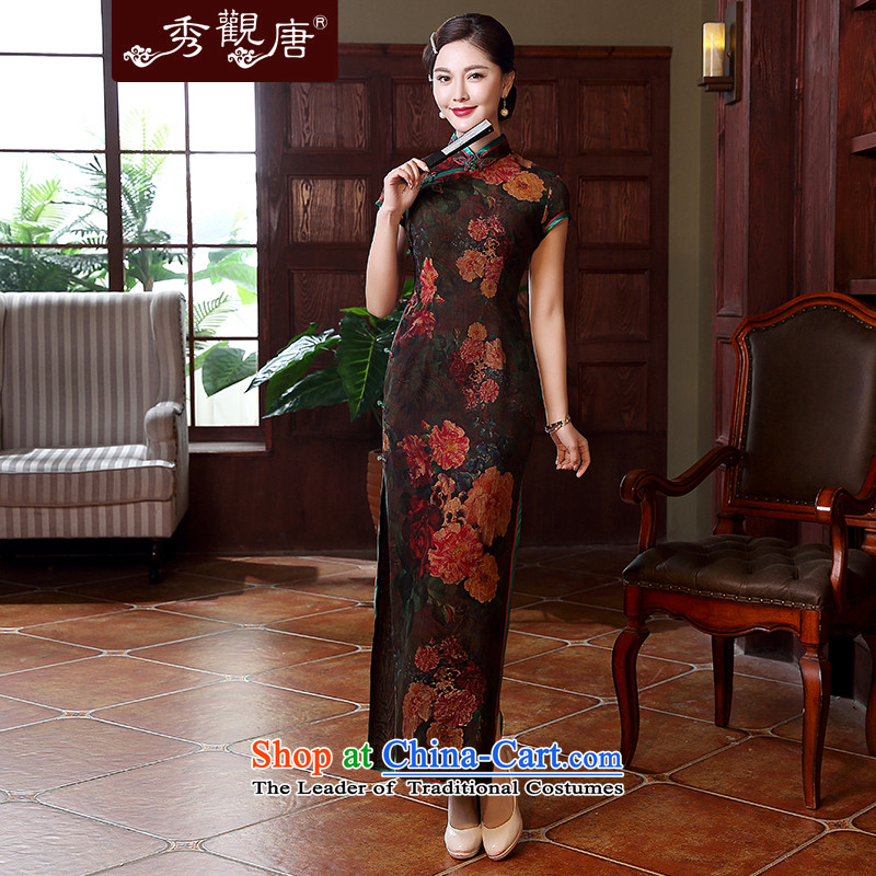 -Sau Kwun Tong- 2015 summer flowers gardenias new cloud of incense yarn long silk cheongsam dress QD5118 upscale suit燣