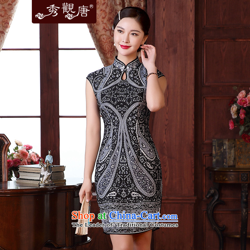 -Sau Kwun Tong- sensorial Summer 2015 new sexy cheongsam dress daily improved retro dresses QD5124 SUIT?XXL