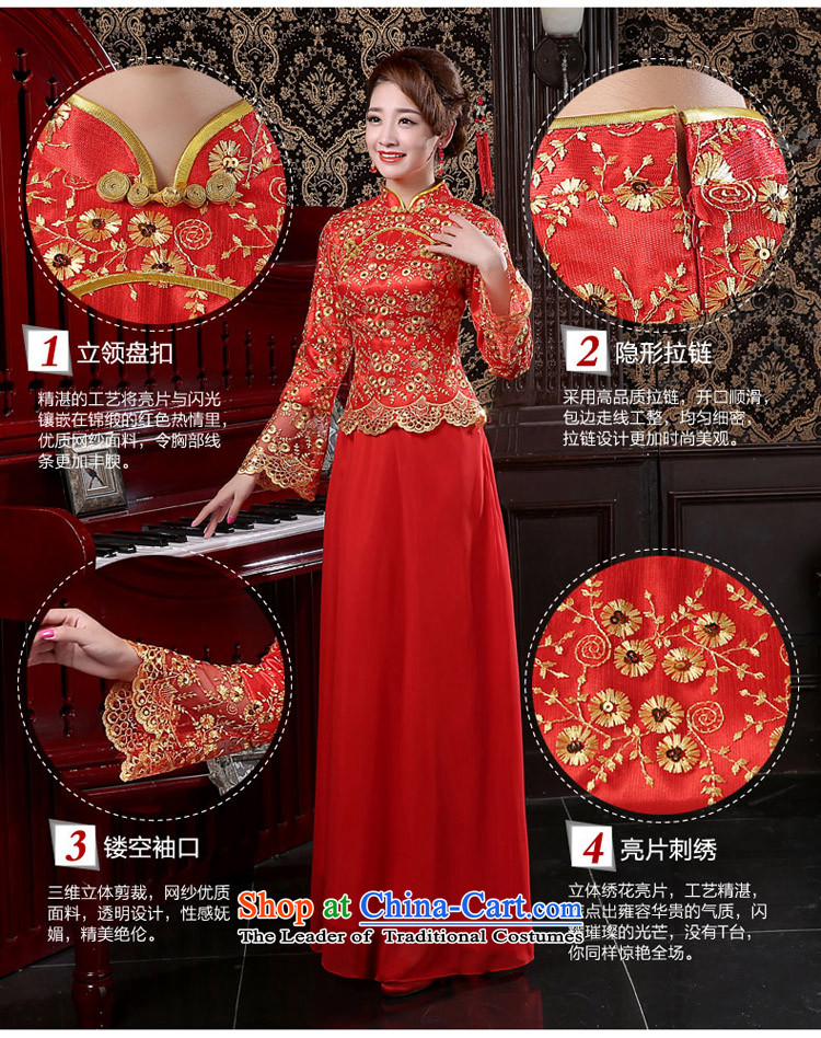 Martin Taylor new bride in spring and autumn 2015 wedding dress on chip lace long qipao cotton red bows services folder female red XXL picture, prices, brand platters! The elections are supplied in the national character of distribution, so action, buy now enjoy more preferential! As soon as possible.