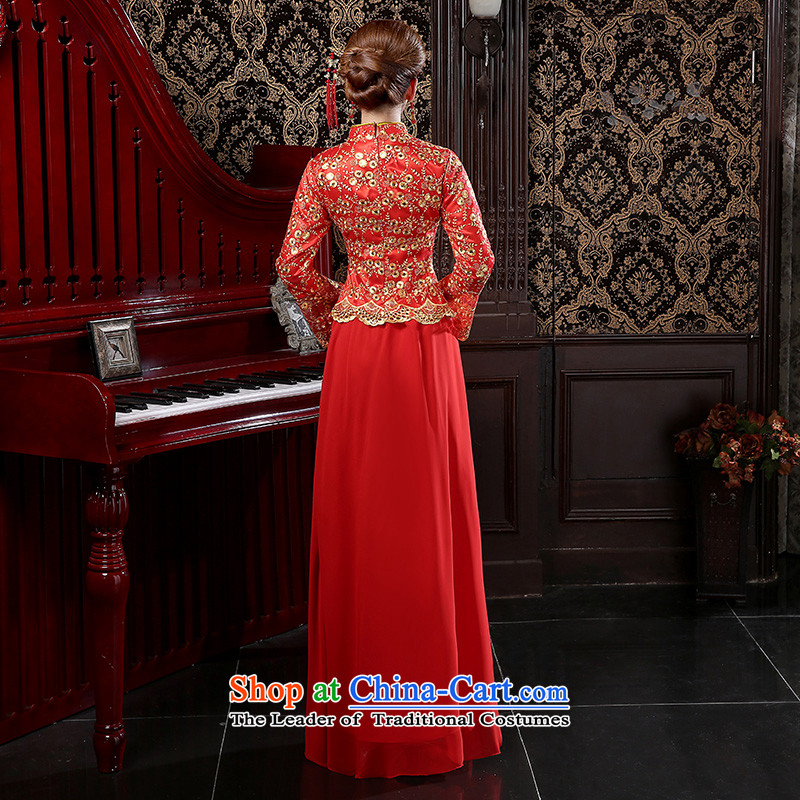 Martin Taylor new bride in spring and autumn 2015 wedding dress on chip lace long qipao cotton red bows services folder female red XXL, TAYLOR TAILEMARTIN Martin () , , , shopping on the Internet