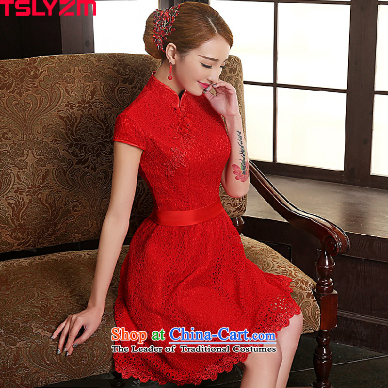 The bride improved qipao tslyzm dresses lace short_ bows services 2015 new autumn and winter Sau San Chinese China wind wedding dress red聽S