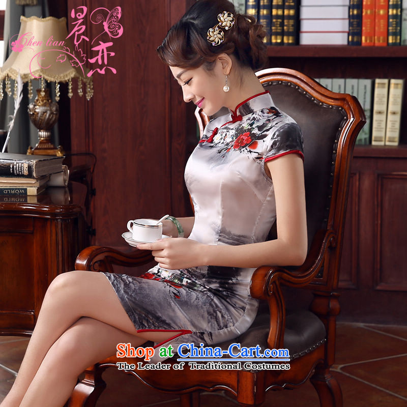 Morning new qipao land 2015 summer short of improvement and Stylish retro herbs extract Silk Cheongsam Chinese ink Light Gray燣