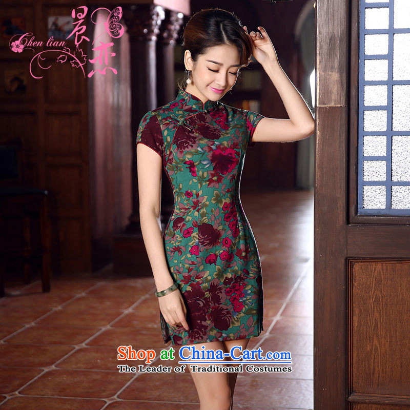 Land 2015 summer morning new Stylish retro short of improved cotton linen cheongsam dress Chinese Daily Green Green聽155_S