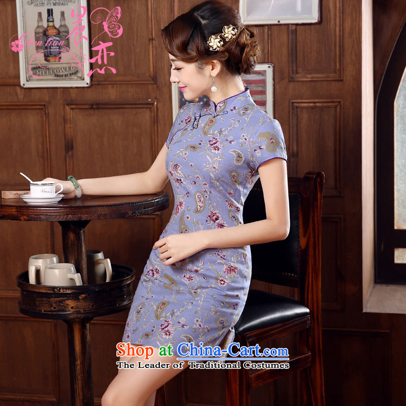 Land 2015 summer morning new Stylish retro short of improved cotton linen cheongsam dress Chinese daily autumn colors with a light purple L