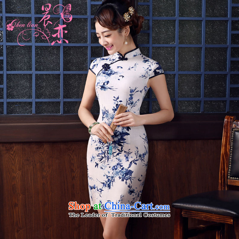 Land 2015 summer morning new Stylish retro short of improved cheongsam dress Chinese daily cotton linen white porcelain�5_S
