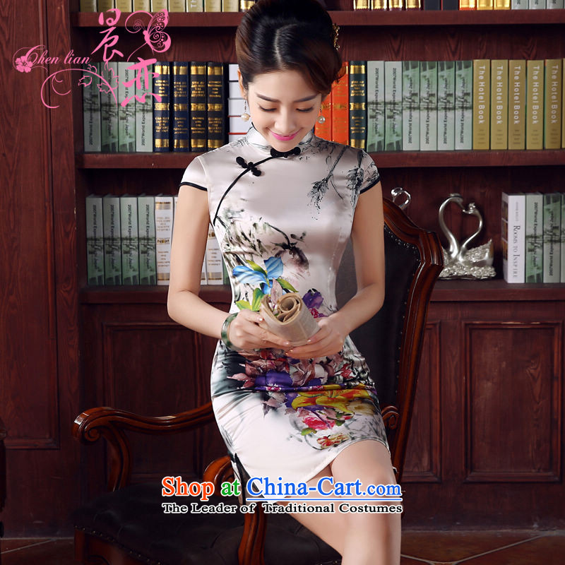 Morning new qipao land 2015 summer short of improvement and Stylish retro sauna Silk Cheongsam flowers silk Chinese land light gray�M