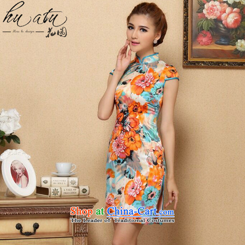 Figure for summer flowers female qipao Tang dynasty new cool Silk Cheongsam noble stylish herbs extract cheongsam Silk Cheongsam such as banquet map color燬