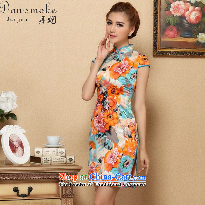Dan smoke summer female qipao Tang dynasty new cool Silk Cheongsam noble stylish herbs extract cheongsam Silk Cheongsam such as banquet map color聽2XL