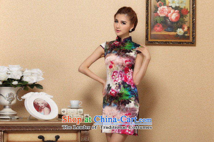 Floral Silk Cheongsam summer new women Tang Dynasty Chinese improved collar retro elegant qipao herbs extract short qipao Figure Color聽S picture, prices, brand platters! The elections are supplied in the national character of distribution, so action, buy now enjoy more preferential! As soon as possible.