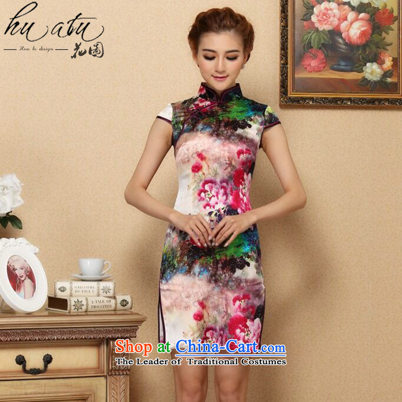 Floral Silk Cheongsam summer new women Tang Dynasty Chinese improved collar retro elegant qipao herbs extract short qipao Figure Color燬