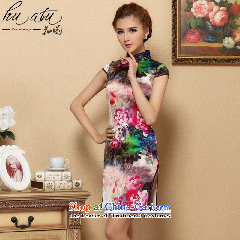 Floral Silk Cheongsam summer new women Tang Dynasty Chinese improved collar retro elegant qipao herbs extract short qipao Figure Color聽S, floral shopping on the Internet has been pressed.