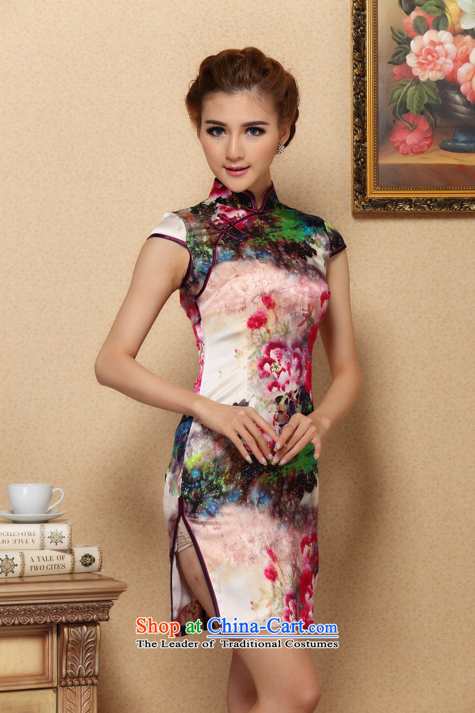 Dan smoke Silk Cheongsam summer new women Tang Dynasty Chinese improved collar retro elegant qipao herbs extract short qipao Figure聽2XL color pictures, prices, brand platters! The elections are supplied in the national character of distribution, so action, buy now enjoy more preferential! As soon as possible.