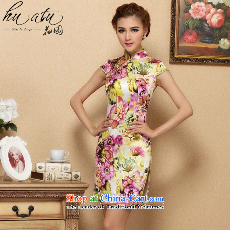 Spend the summer of the new figure female qipao Tang Dynasty Chinese improved Mock-neck noble herbs extract qipao daily Silk Cheongsam Figure Color short聽2XL
