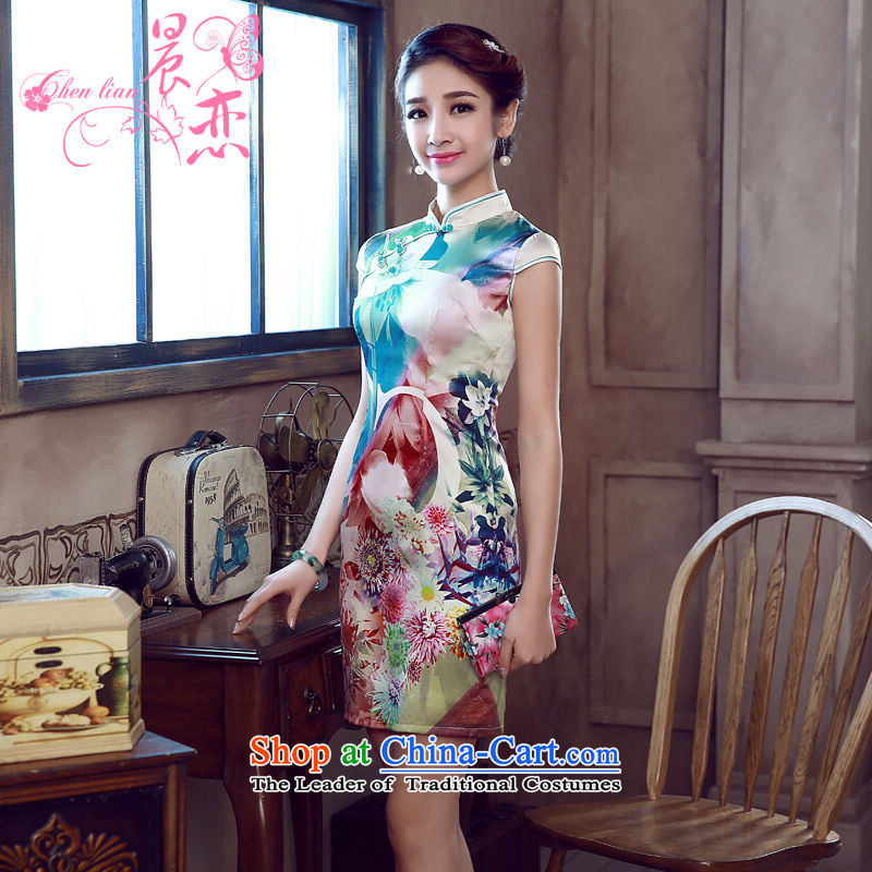 Morning new qipao Land summer short of improvement and Stylish retro herbs extract silk cheongsam dress Chinese flowers to green XXL
