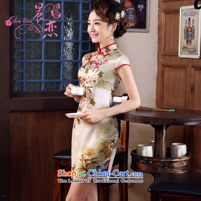 Morning new qipao land 2015 summer short of improvement and Stylish retro sauna Silk Cheongsam autumn silk Chinese MUI聽155_S Suit