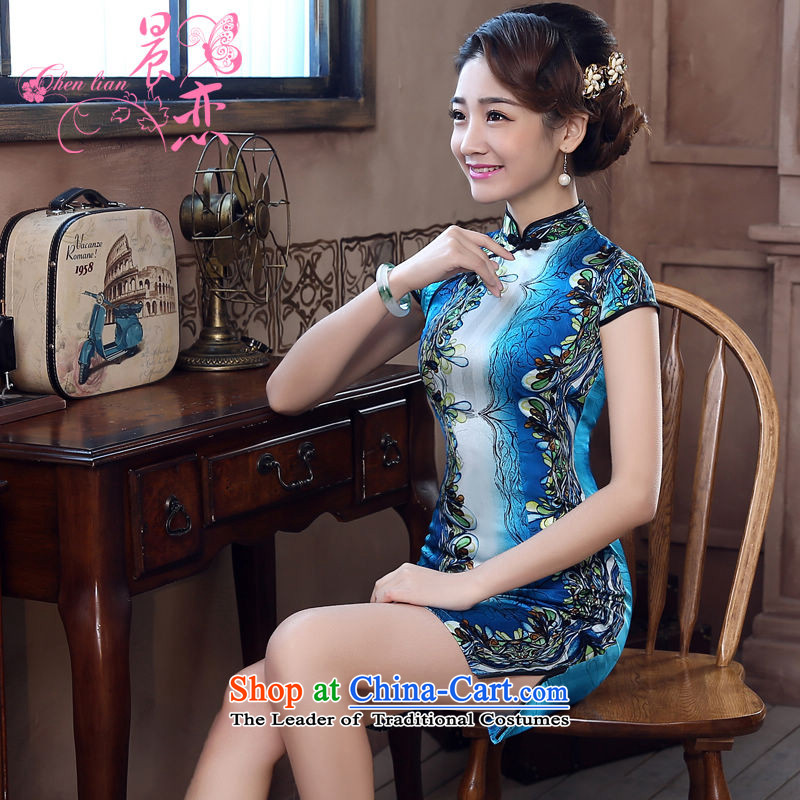 Morning new qipao land 2015 summer short of improvement and Stylish retro herbs extract Chinese Silk Cheongsam blue-hyung blue L