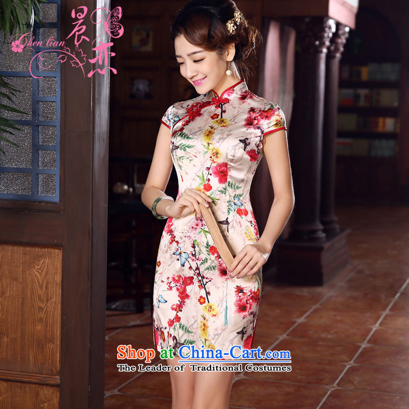 Morning new qipao land 2015 summer short of improvement and Stylish retro herbs extract silk CHINESE CHEONGSAM Dejammet suit燲XL