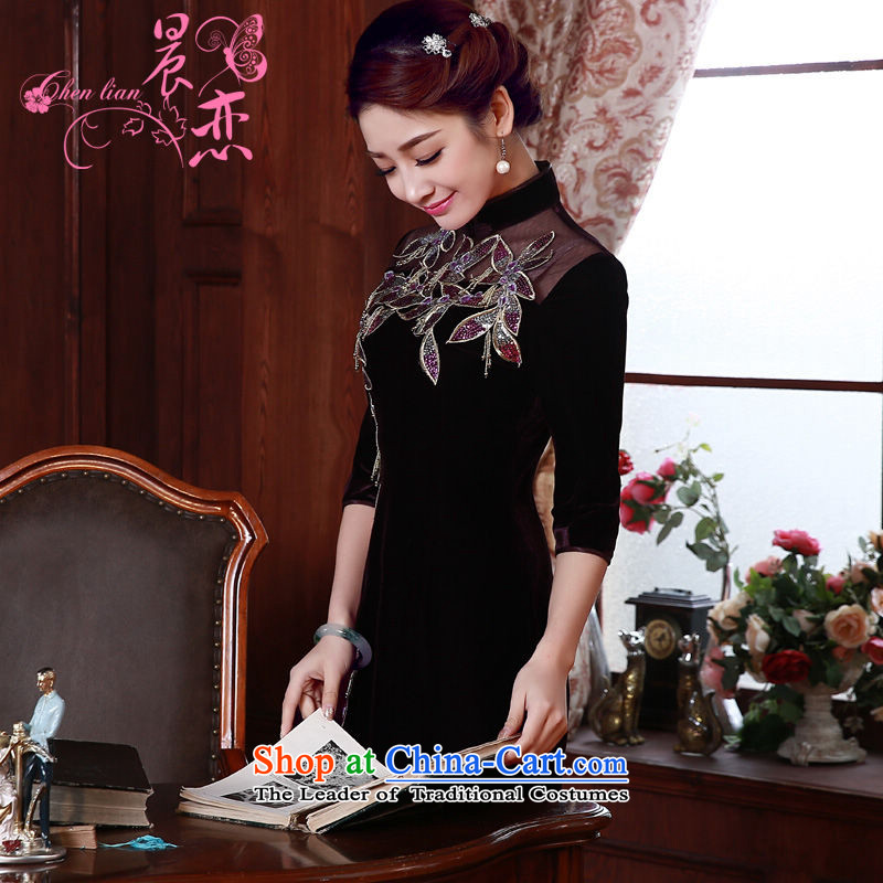 Morning spring and autumn 2015 new land improvement in the retro cuff stylish manually staple pearl luxury cashmere cheongsam dress purple M