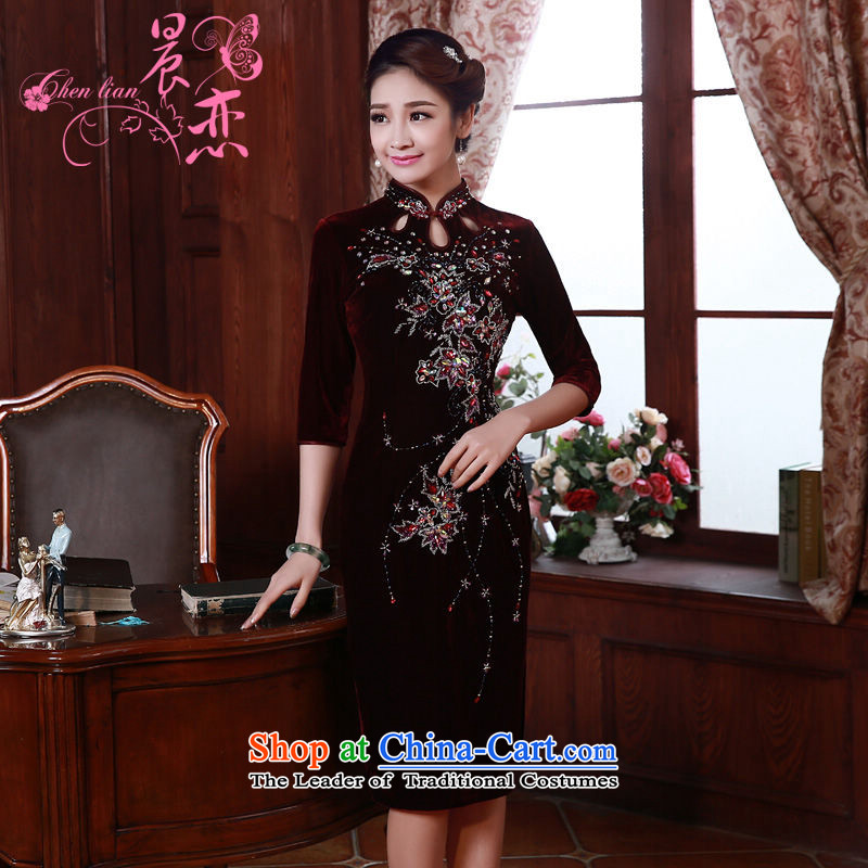 Morning spring and autumn 2015 new land improvement in the retro cuff stylish manually staple pearl luxury cashmere cheongsam dress wine red XXL