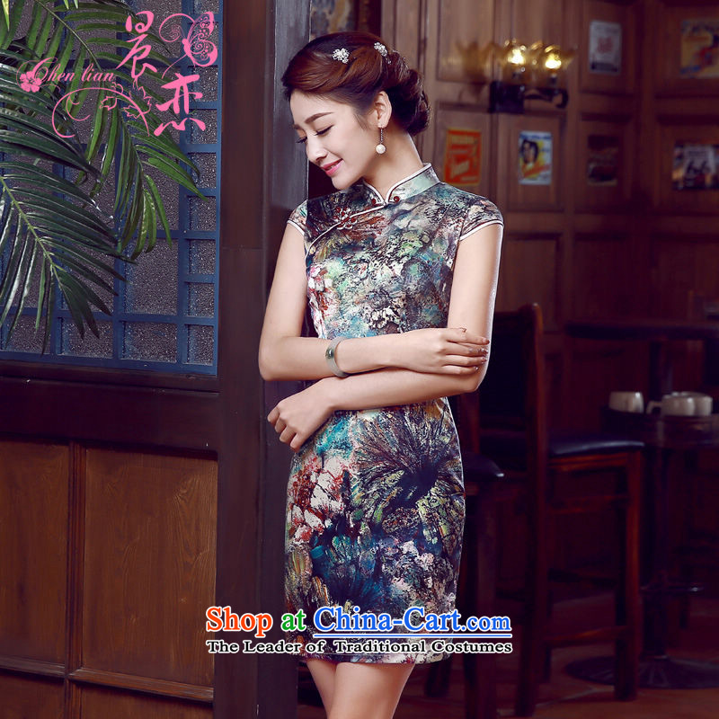 Morning new qipao Land summer short of improvement and Stylish retro herbs extract silk cheongsam dress water with Chinese suit L