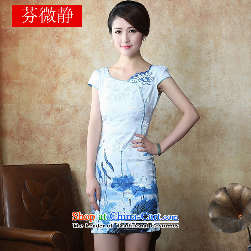 The 2015 National wind Tang dynasty fashion improved daily sexy cheongsam dress Sau San 632 Blue M