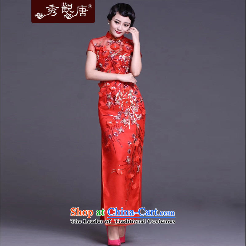 Sau Kwun Tong Yu-ling, upscale _2015 qipao gown_Long_ classic high on the forklift truck spring evening G92118 female red燣