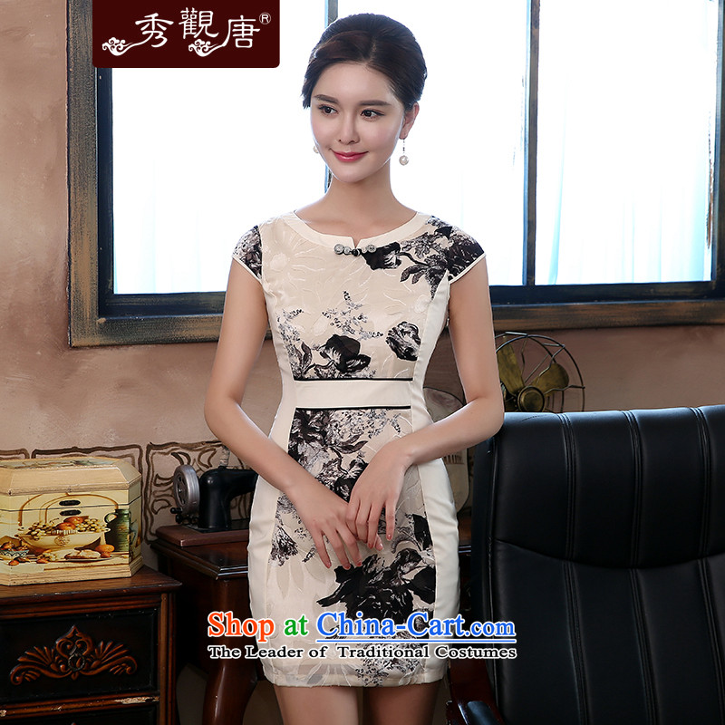 -Sau Kwun Tong- ink Dan Ching 2015 Spring_Summer new improved daily nation retro qipao wind dresses QD4288 beige聽XXL