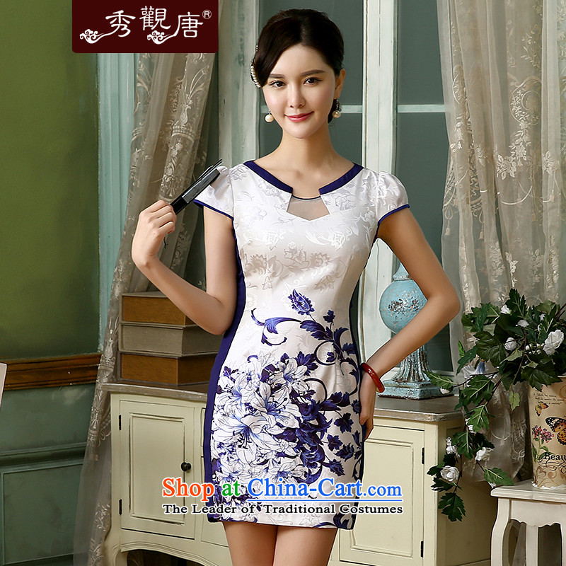 -Sau Kwun Tong- Chiung-ying 2015 improved daily qipao summer stylish new retro women's dresses QD4128 white聽S