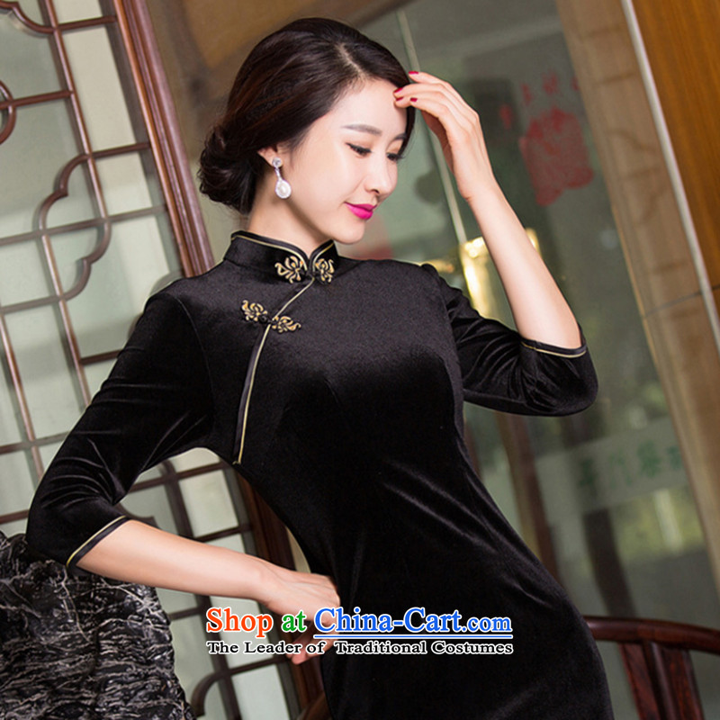 Dan smoke Tang dynasty cheongsam dress new pure color and the Stretch Wool qipao seven gold cuff improved qipao -A black L