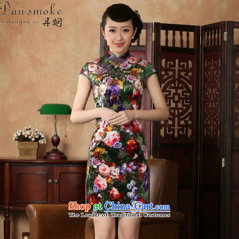 Dan smoke qipao Tang Dynasty Chinese women's Mock-neck elastic Kim improved velvet poster stylish classic short-sleeved short qipao Figure Color聽XL