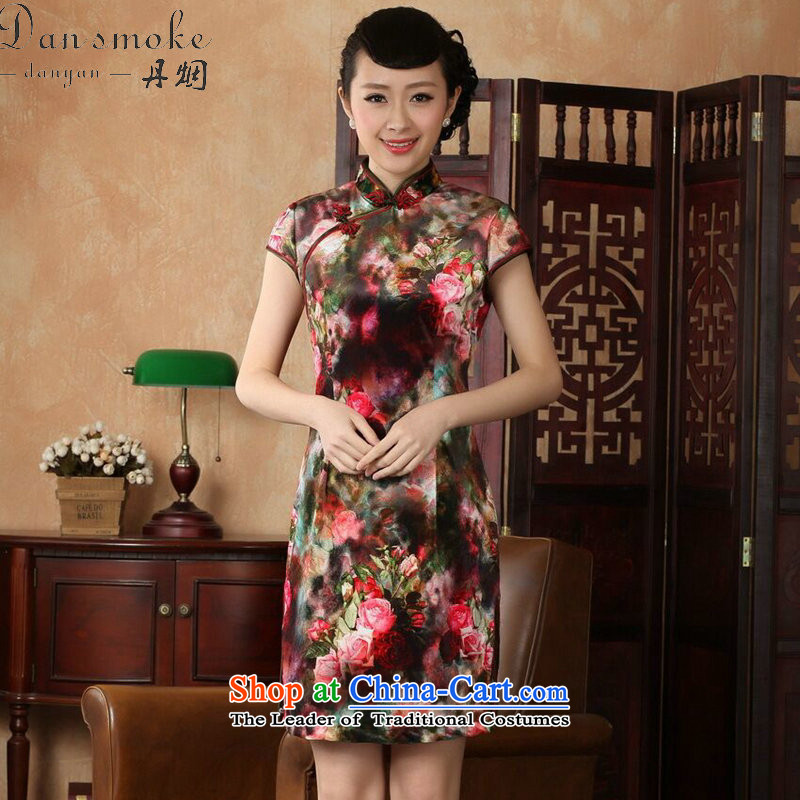 Dan smoke qipao Tang Women's clothes summer new Stretch Wool poster stylish Kim Chinese improved Classic short-sleeved short qipao Figure Color S