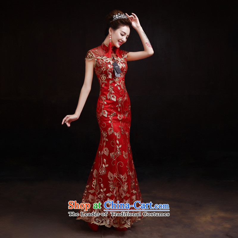 The dumping of the wedding dress spring and fall 2015 new bride bows to marry cheongsam long retro improved Sau San crowsfoot red XXL