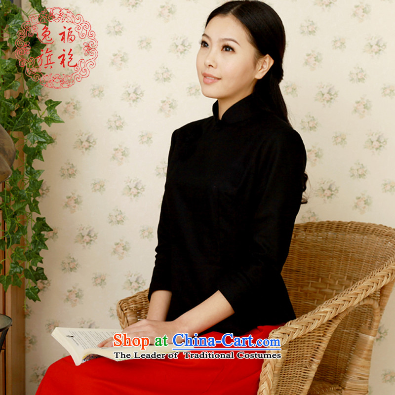 Il well cotton linen national Tang blouses students with the Republic of Korea Air Summer Arts Chinese qipao improvement package black T-shirt XL 10 day shipping