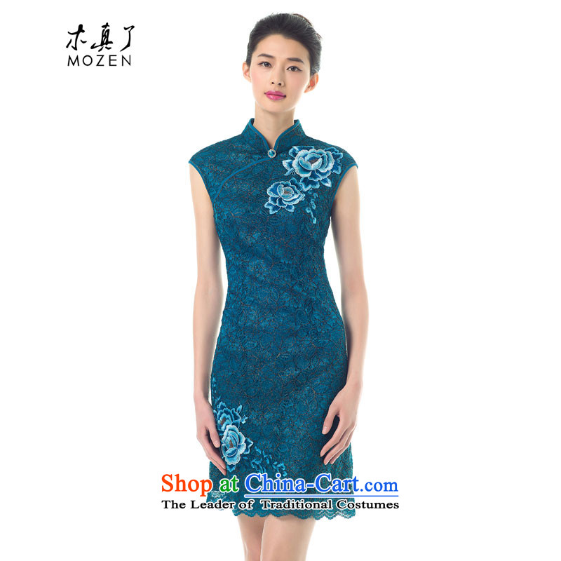 The 2015 Spring wood really new improved cheongsam dress stylish embroidery lace dresses female skirt summer 43135 Sau San 11 light blue聽L