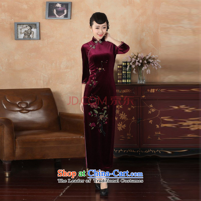Min Joseph new Superior Stretch Wool long qipao Kim 7 cuff autumn and winter, dresses dresses wine red�XXL